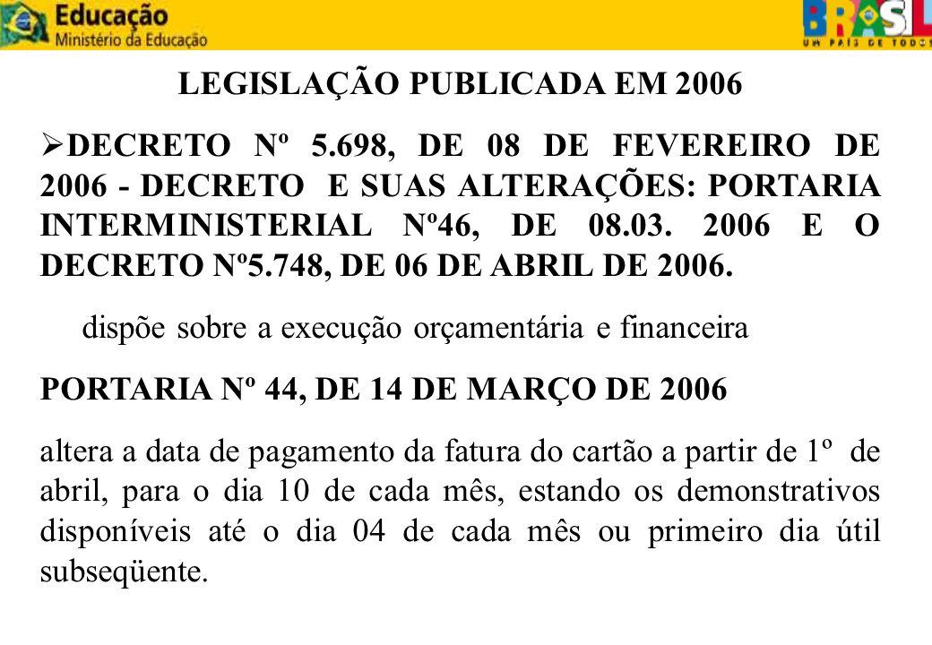 LEGISLAÇÃO PUBLICADA EM 2006