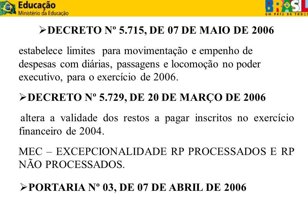 DECRETO Nº 5.729, DE 20 DE MARÇO DE 2006