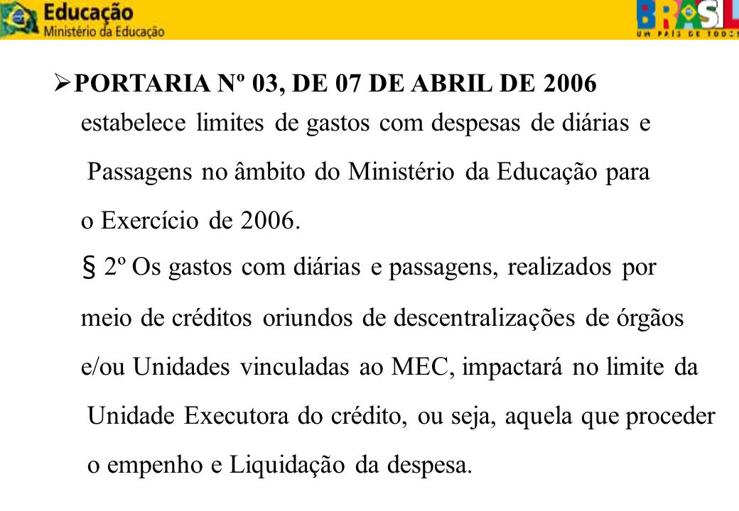 PORTARIA Nº 03, DE 07 DE ABRIL DE 2006