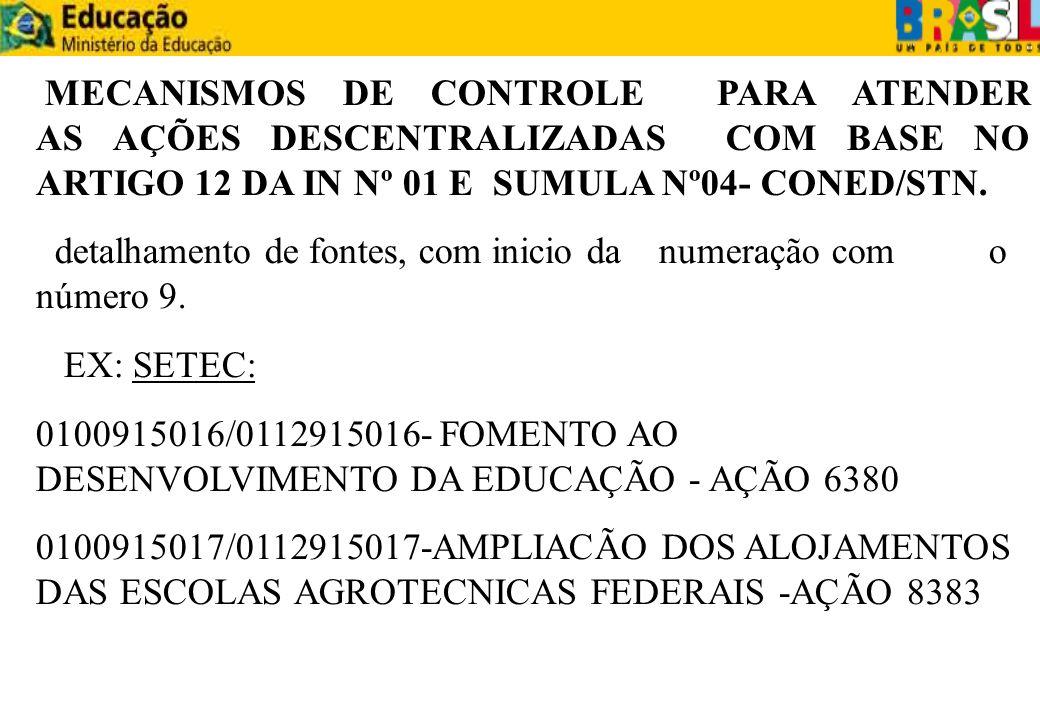MECANISMOS DE CONTROLE PARA ATENDER AS AÇÕES DESCENTRALIZADAS COM BASE NO ARTIGO 12 DA IN Nº 01 E SUMULA Nº04- CONED/STN.