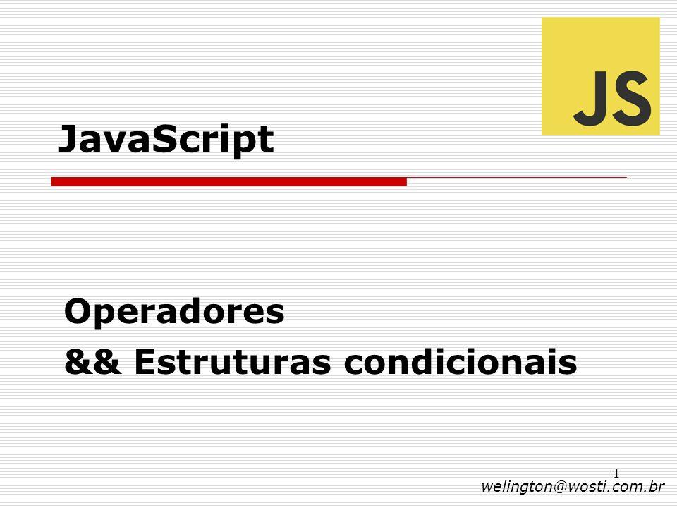 Operadores && Estruturas condicionais