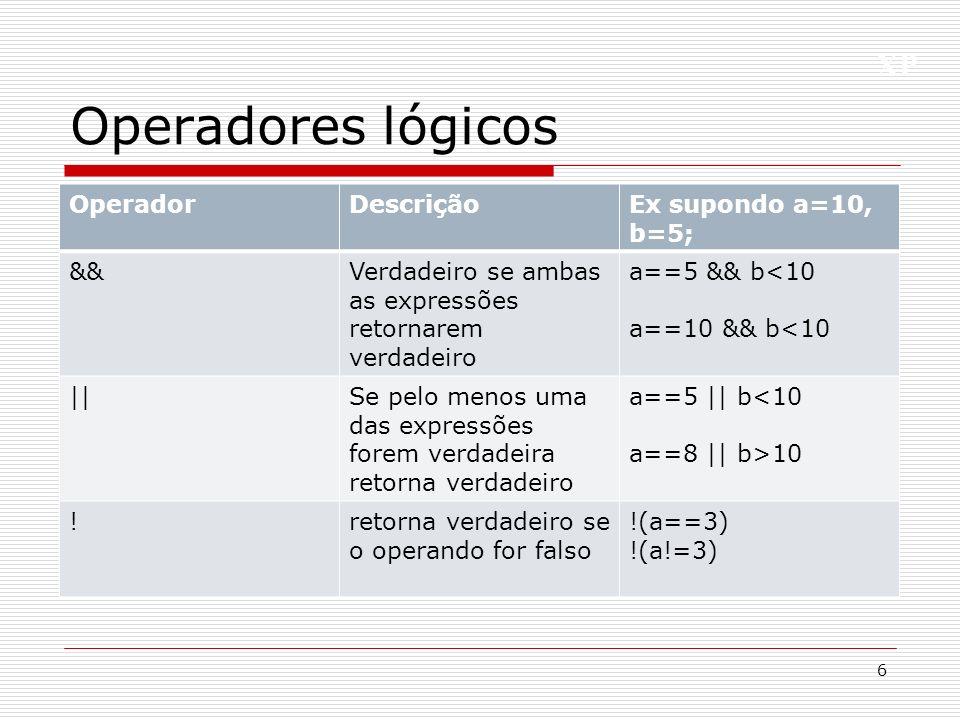 Operadores lógicos Operador Descrição Ex supondo a=10, b=5; &&
