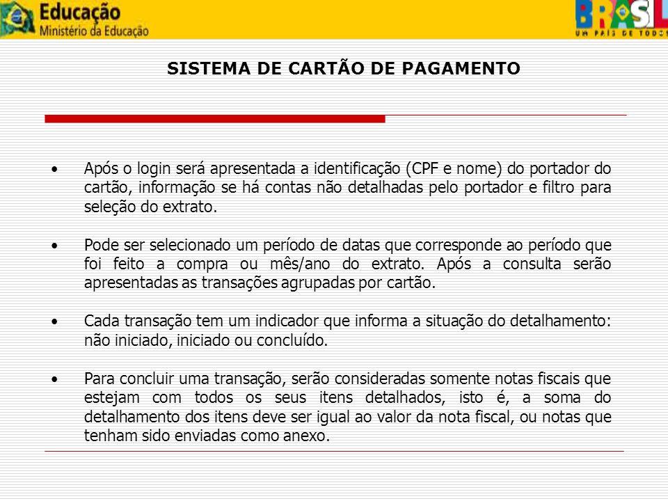 SISTEMA DE CARTÃO DE PAGAMENTO
