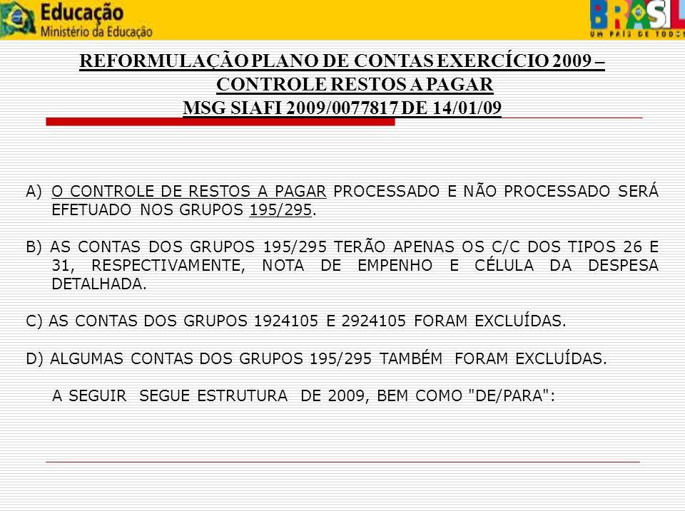 REFORMULAÇÃO PLANO DE CONTAS EXERCÍCIO 2009 – CONTROLE RESTOS A PAGAR