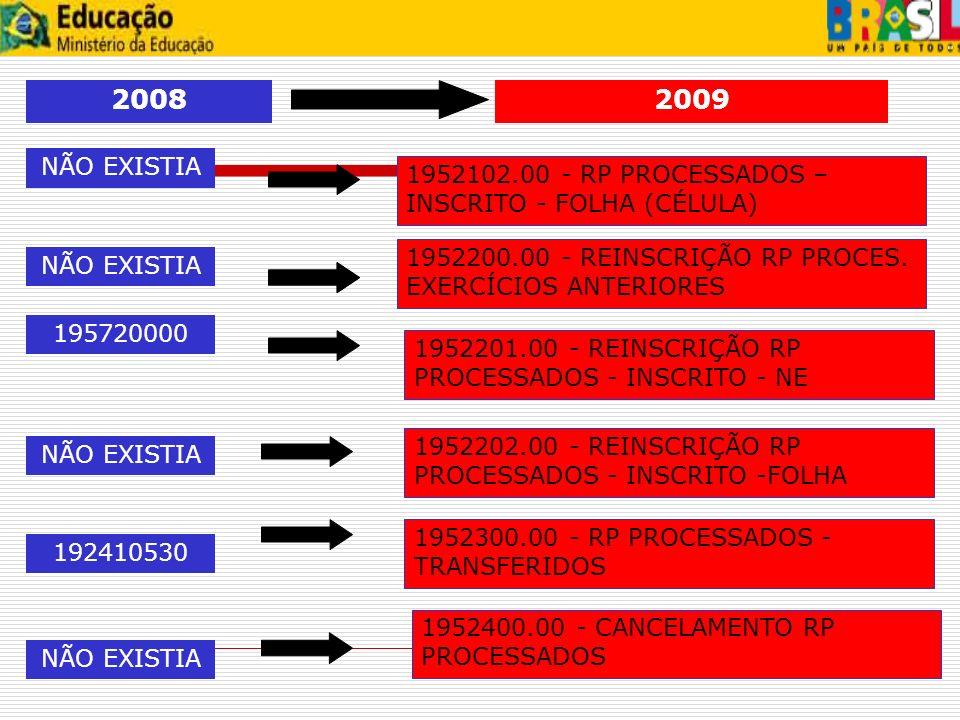 2008 2009 NÃO EXISTIA 1952102.00 - RP PROCESSADOS –