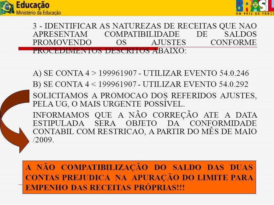 A) SE CONTA 4 > 199961907 - UTILIZAR EVENTO 54.0.246