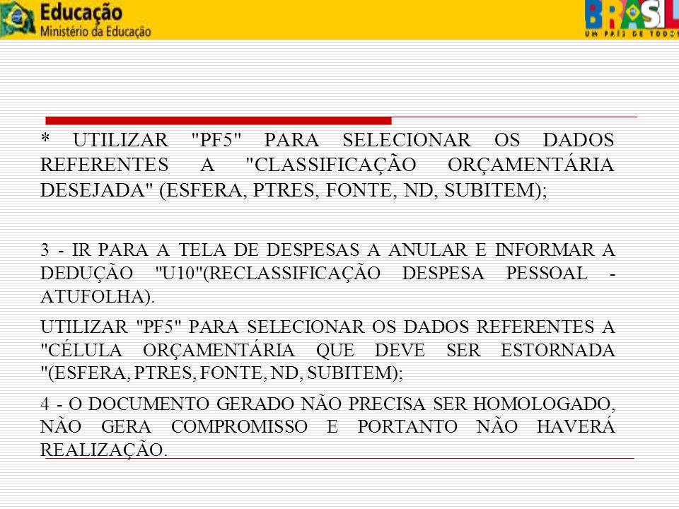 * UTILIZAR PF5 PARA SELECIONAR OS DADOS REFERENTES A CLASSIFICAÇÃO ORÇAMENTÁRIA DESEJADA (ESFERA, PTRES, FONTE, ND, SUBITEM);