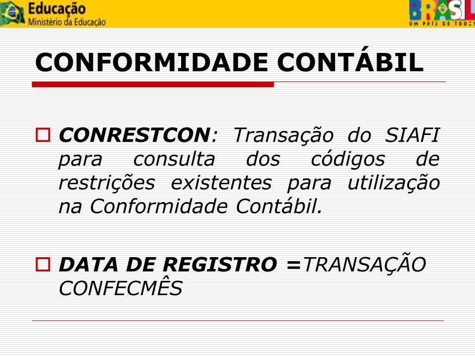 CONFORMIDADE CONTÁBIL
