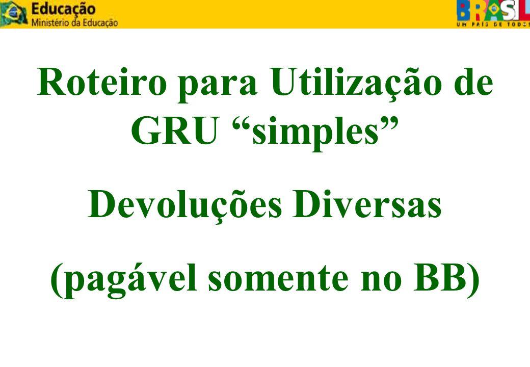 Roteiro para Utilização de GRU simples (pagável somente no BB)