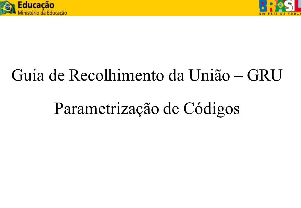 Guia de Recolhimento da União – GRU Parametrização de Códigos
