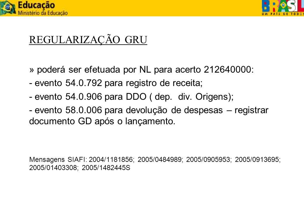REGULARIZAÇÃO GRU » poderá ser efetuada por NL para acerto 212640000: