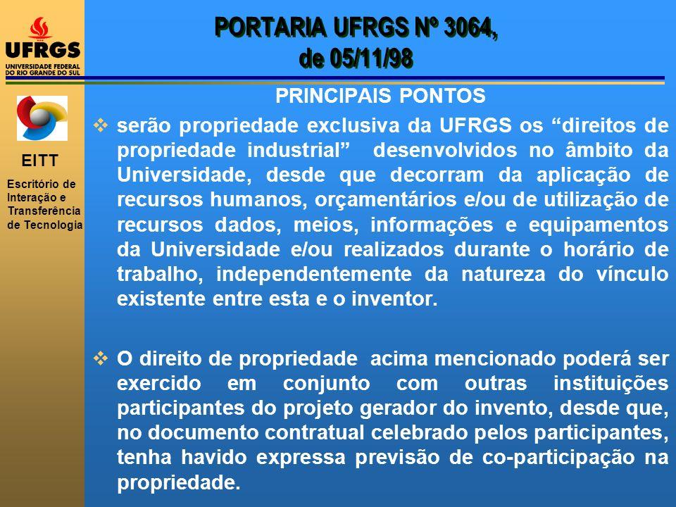 PORTARIA UFRGS Nº 3064, de 05/11/98 PRINCIPAIS PONTOS