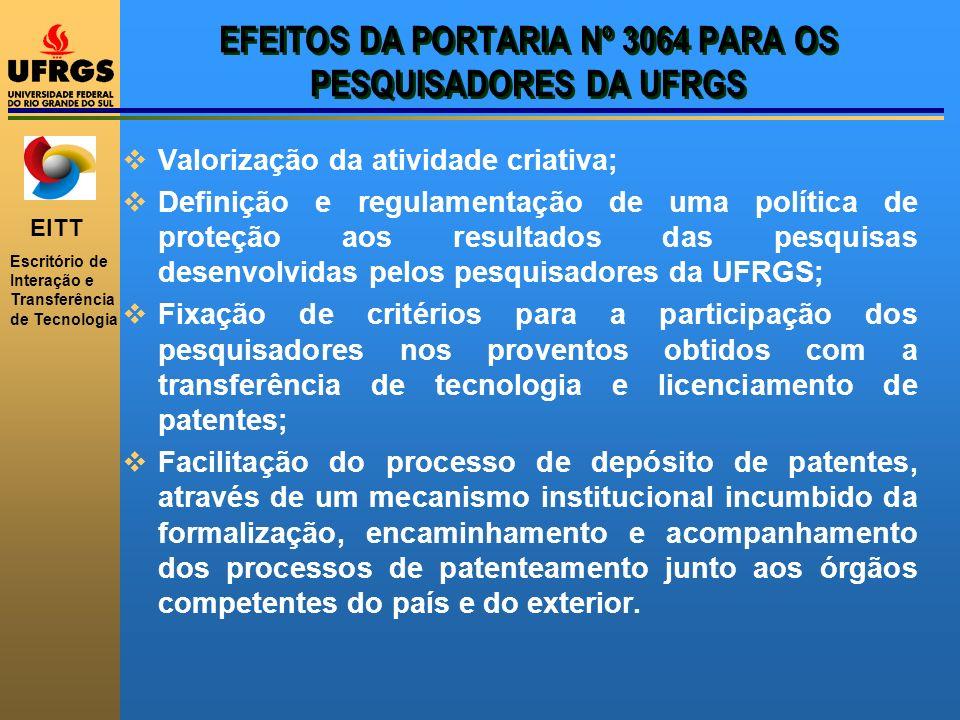EFEITOS DA PORTARIA Nº 3064 PARA OS PESQUISADORES DA UFRGS