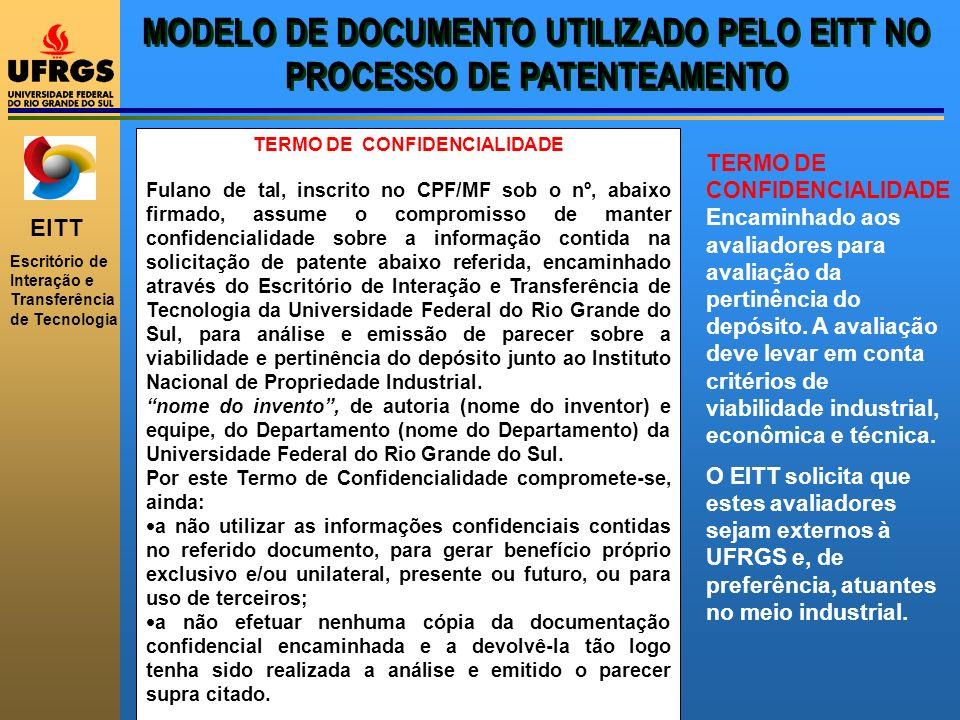 MODELO DE DOCUMENTO UTILIZADO PELO EITT NO PROCESSO DE PATENTEAMENTO