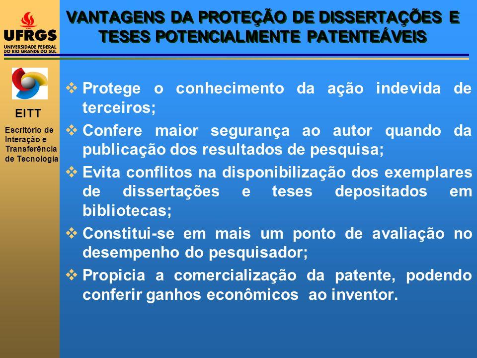 VANTAGENS DA PROTEÇÃO DE DISSERTAÇÕES E TESES POTENCIALMENTE PATENTEÁVEIS