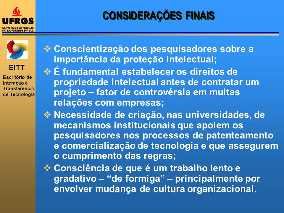 CONSIDERAÇÕES FINAIS Conscientização dos pesquisadores sobre a importância da proteção intelectual;