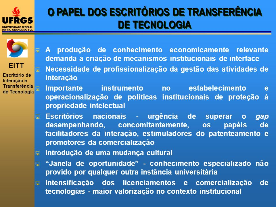 O PAPEL DOS ESCRITÓRIOS DE TRANSFERÊNCIA DE TECNOLOGIA