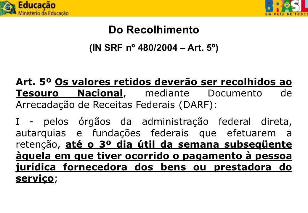 Do Recolhimento (IN SRF nº 480/2004 – Art. 5º)