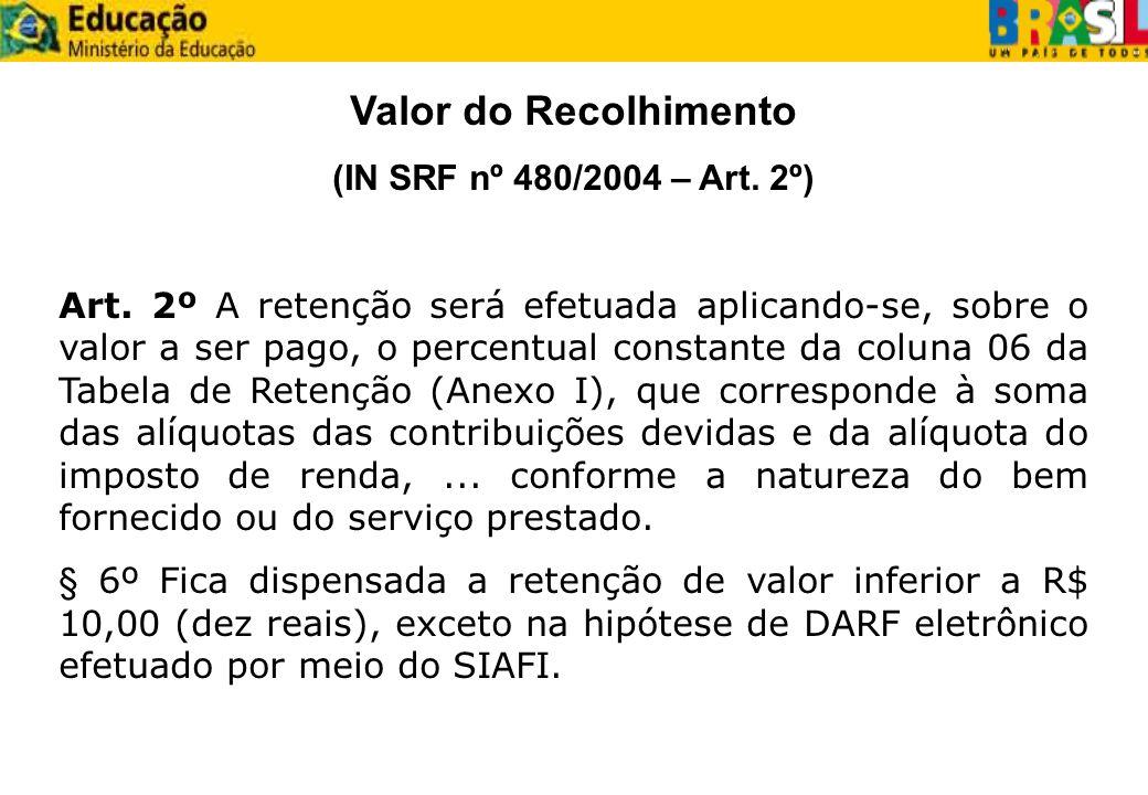 Valor do Recolhimento (IN SRF nº 480/2004 – Art. 2º)