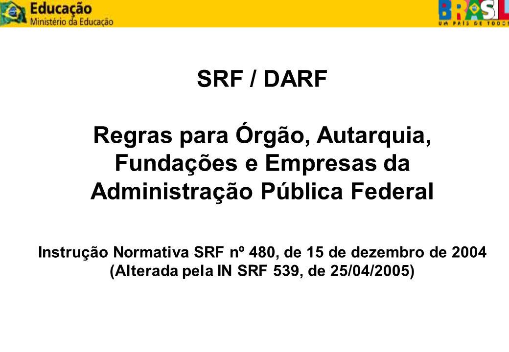SRF / DARFRegras para Órgão, Autarquia, Fundações e Empresas da Administração Pública Federal.