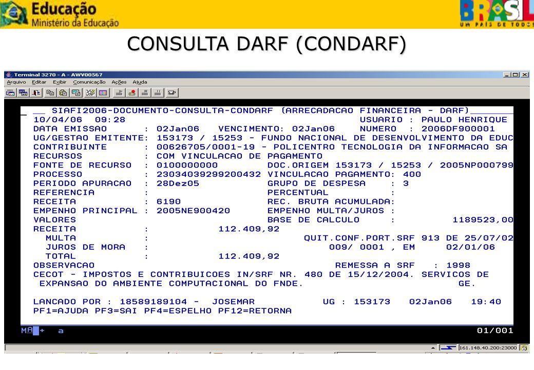 CONSULTA DARF (CONDARF)