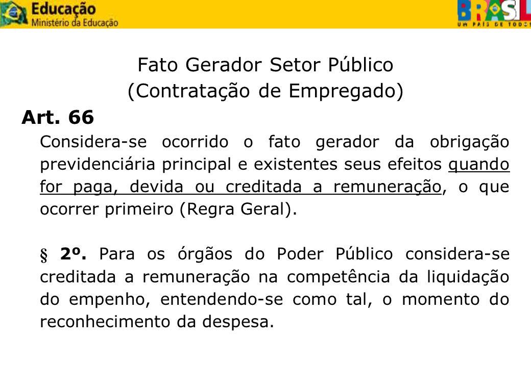 Fato Gerador Setor Público (Contratação de Empregado) Art. 66