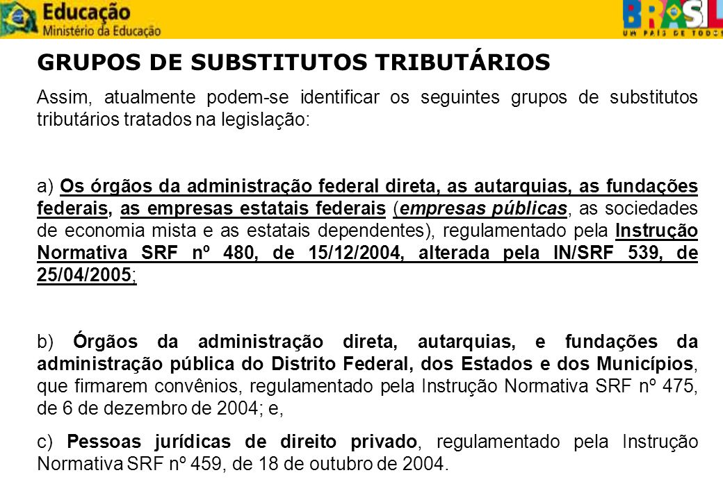GRUPOS DE SUBSTITUTOS TRIBUTÁRIOS