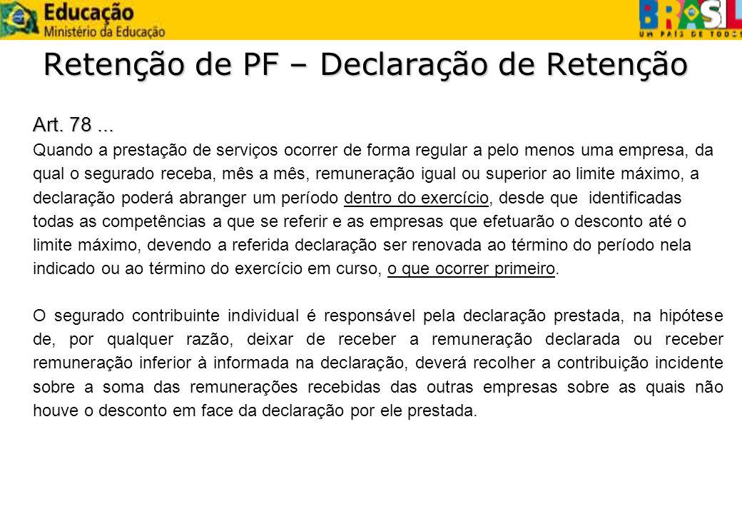 Retenção de PF – Declaração de Retenção