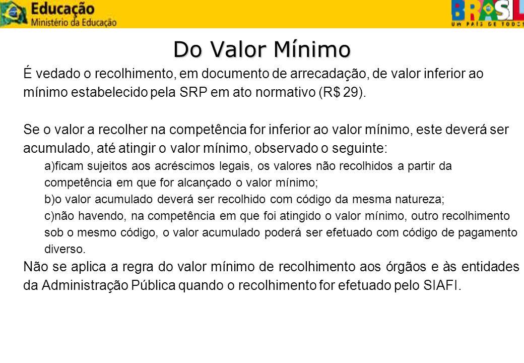 Do Valor MínimoÉ vedado o recolhimento, em documento de arrecadação, de valor inferior ao mínimo estabelecido pela SRP em ato normativo (R$ 29).