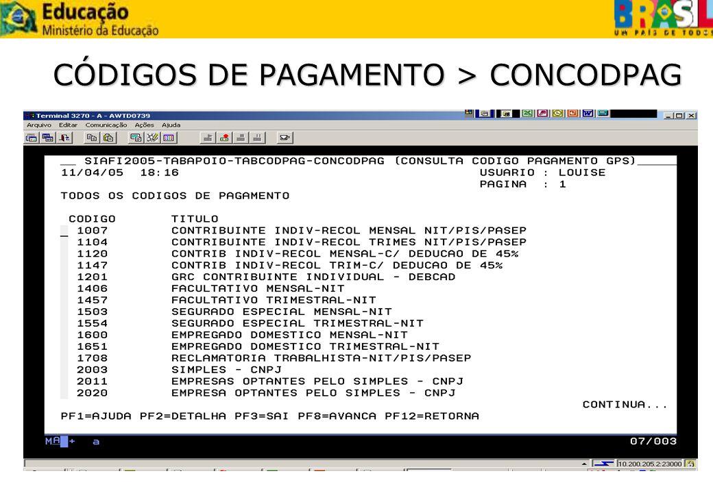 CÓDIGOS DE PAGAMENTO > CONCODPAG