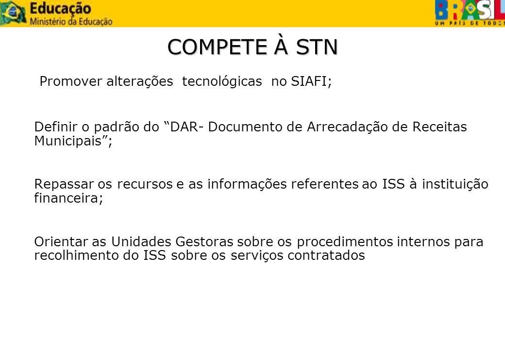 Promover alterações tecnológicas no SIAFI;