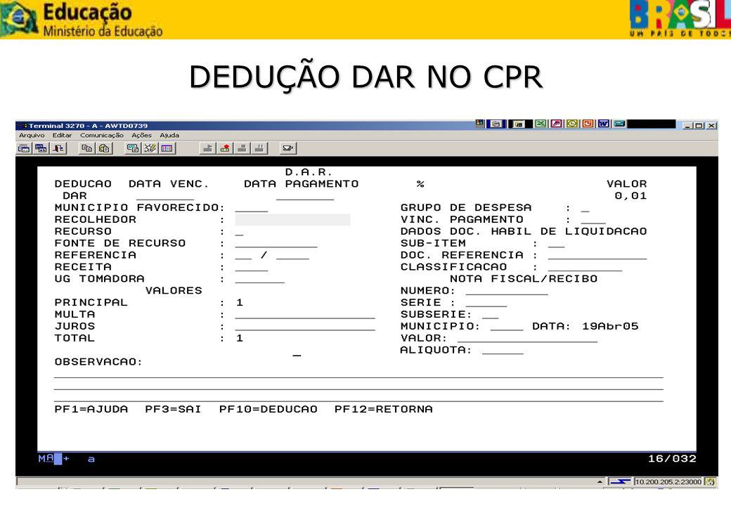 DEDUÇÃO DAR NO CPR