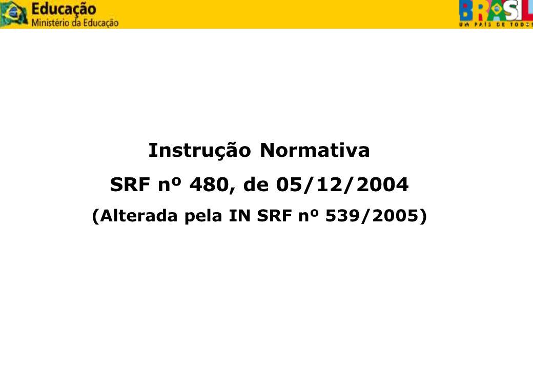 (Alterada pela IN SRF nº 539/2005)