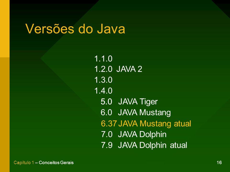 Versões do Java 1.1.0 1.2.0 JAVA 2 1.3.0 1.4.0 5.0 5.0 JAVA Tiger 6.0