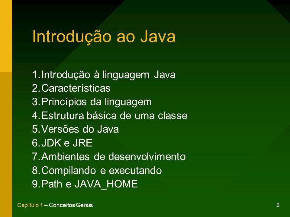 Introdução ao Java Introdução à linguagem Java Características