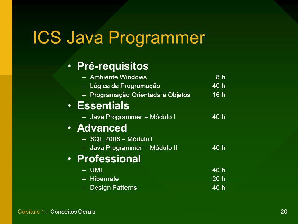 ICS Java Programmer Pré-requisitos Essentials Advanced Professional