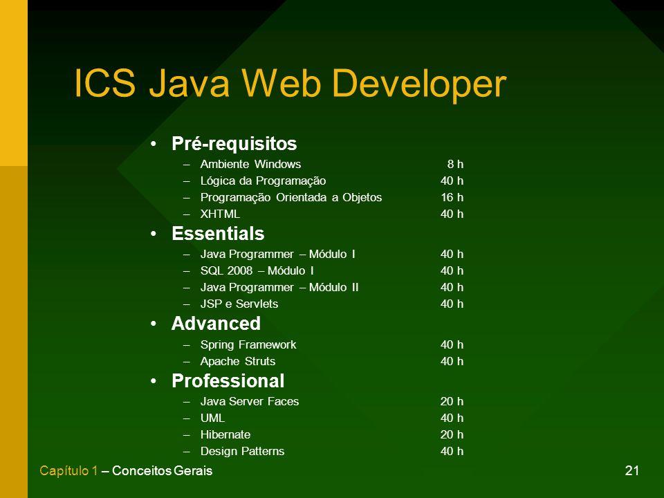 ICS Java Web Developer Pré-requisitos Essentials Advanced Professional