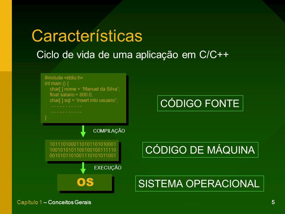 Características OS Ciclo de vida de uma aplicação em C/C++