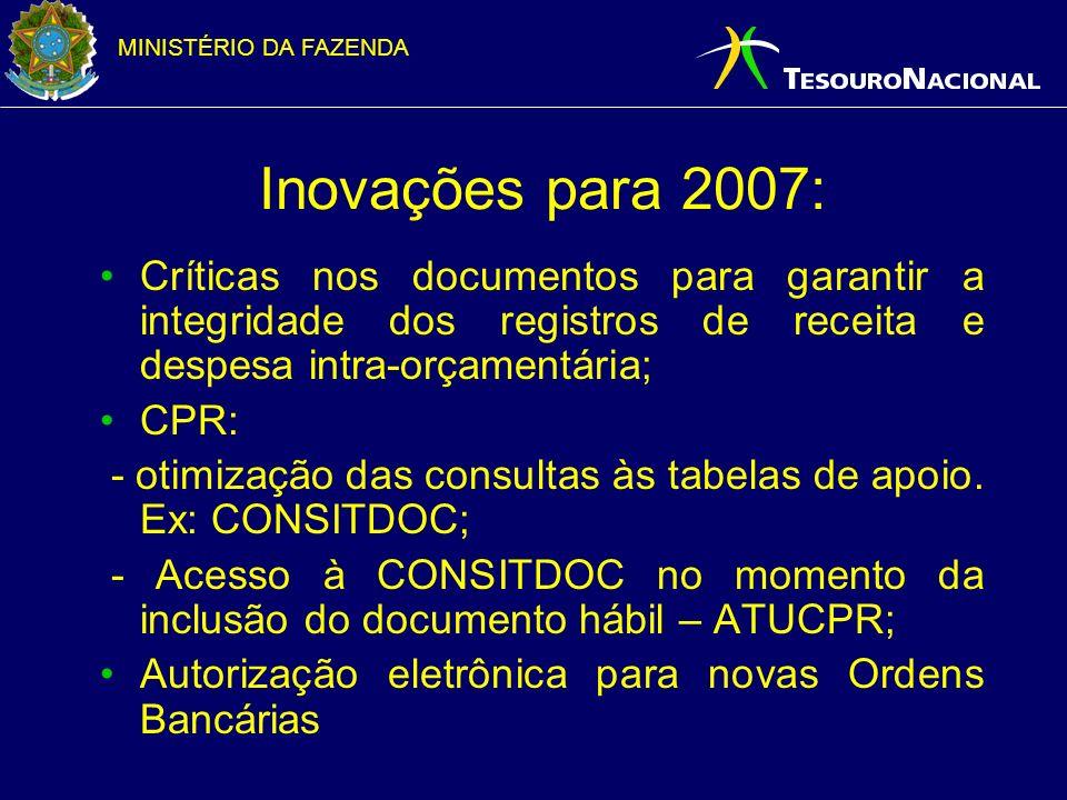 Inovações para 2007: Críticas nos documentos para garantir a integridade dos registros de receita e despesa intra-orçamentária;