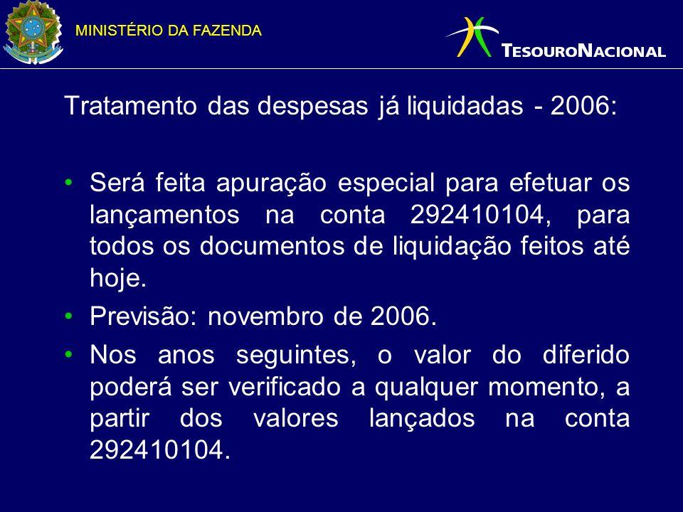 Tratamento das despesas já liquidadas - 2006: