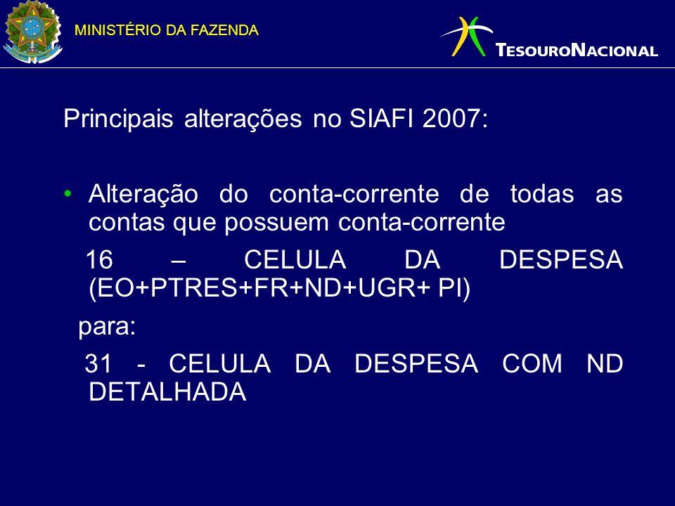 Principais alterações no SIAFI 2007: