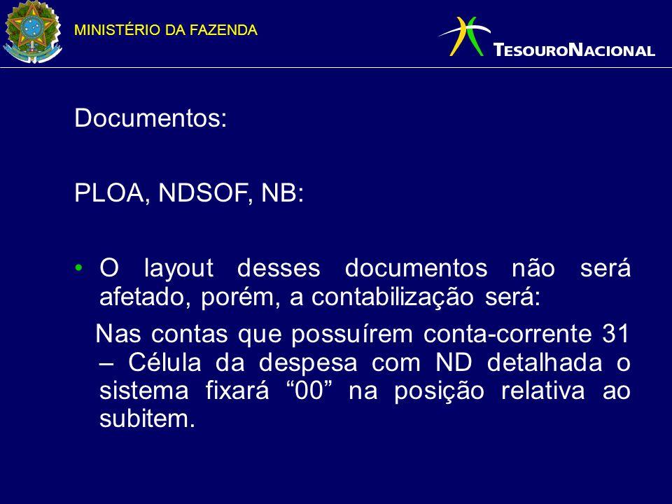 Documentos: PLOA, NDSOF, NB: O layout desses documentos não será afetado, porém, a contabilização será: