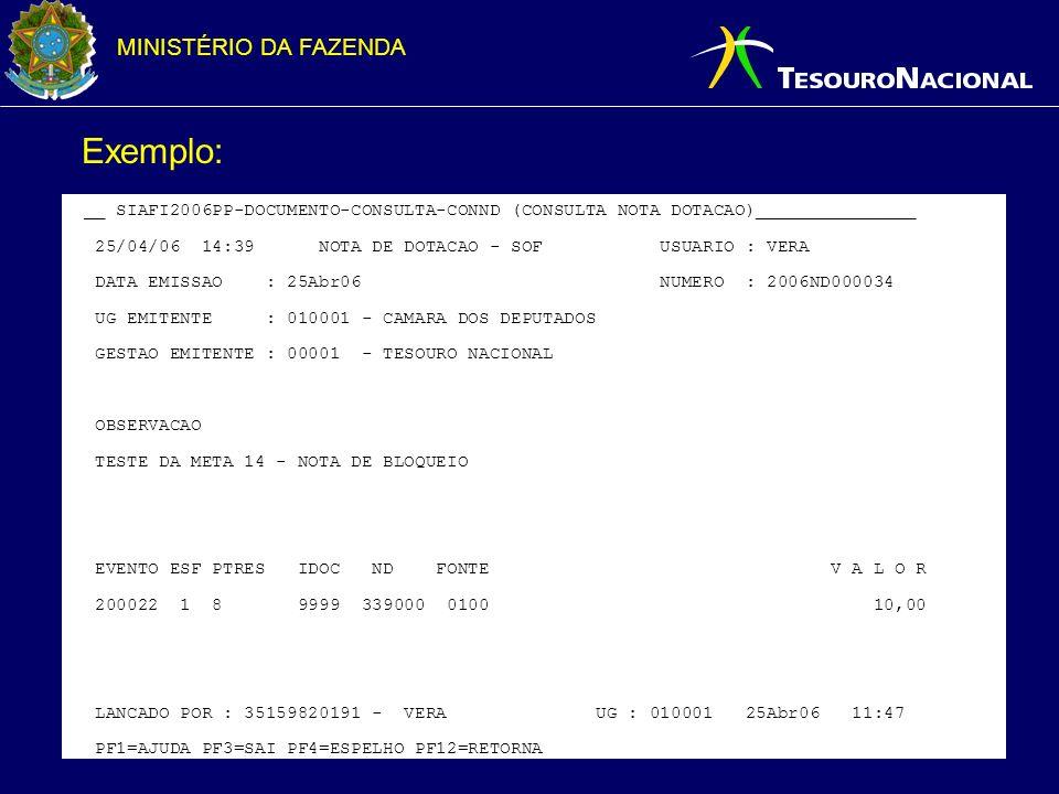 Exemplo: __ SIAFI2006PP-DOCUMENTO-CONSULTA-CONND (CONSULTA NOTA DOTACAO)_______________.