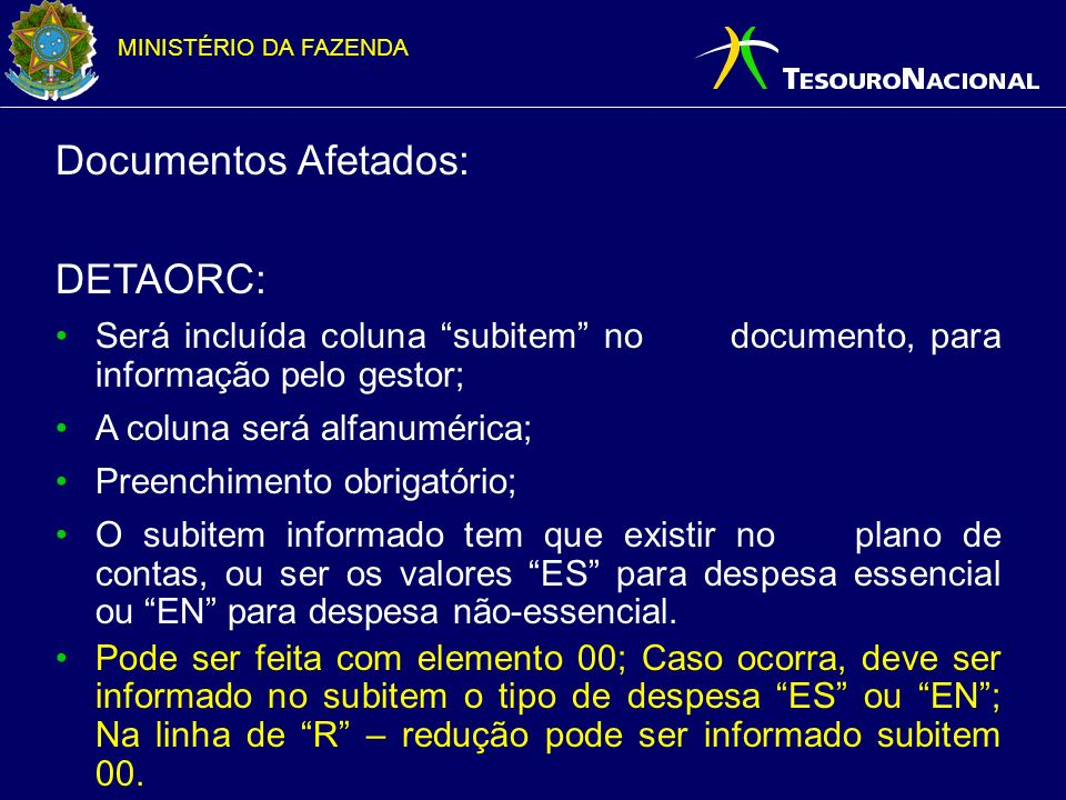 Documentos Afetados: DETAORC: