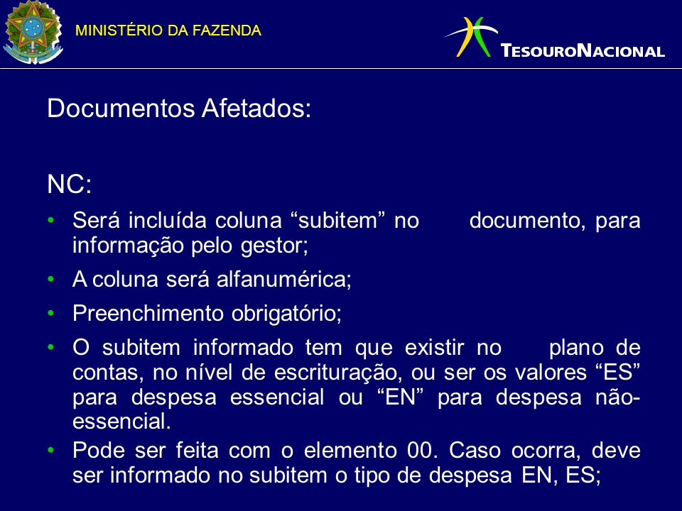Documentos Afetados: NC:
