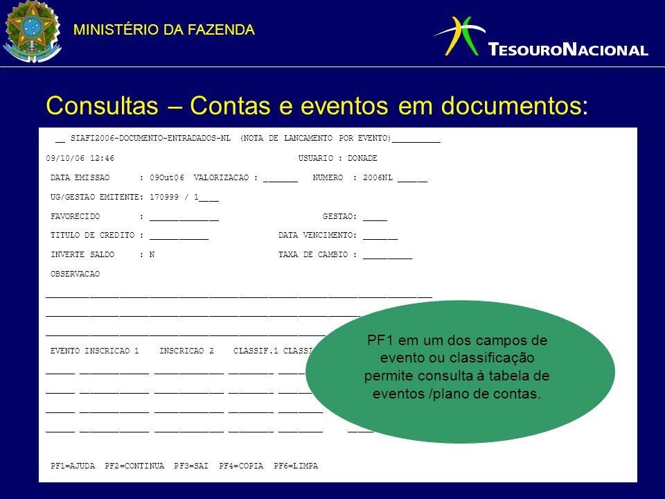 Consultas – Contas e eventos em documentos: