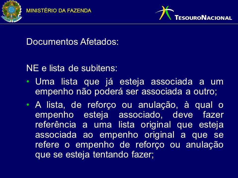 Documentos Afetados: NE e lista de subitens: Uma lista que já esteja associada a um empenho não poderá ser associada a outro;