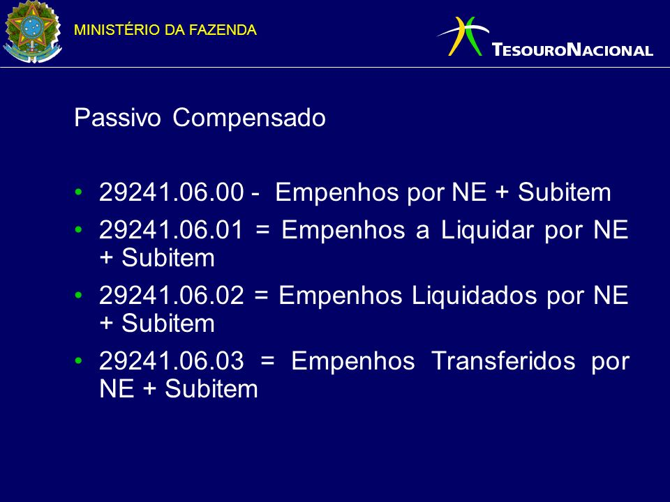 Passivo Compensado 29241.06.00 - Empenhos por NE + Subitem. 29241.06.01 = Empenhos a Liquidar por NE + Subitem.