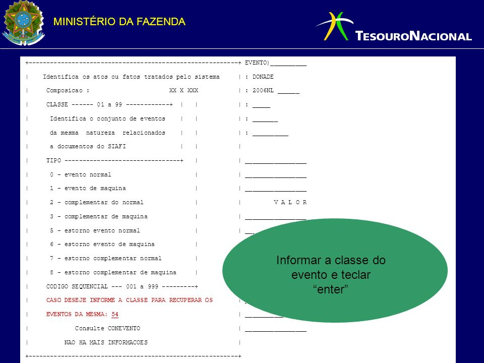 Informar a classe do evento e teclar enter