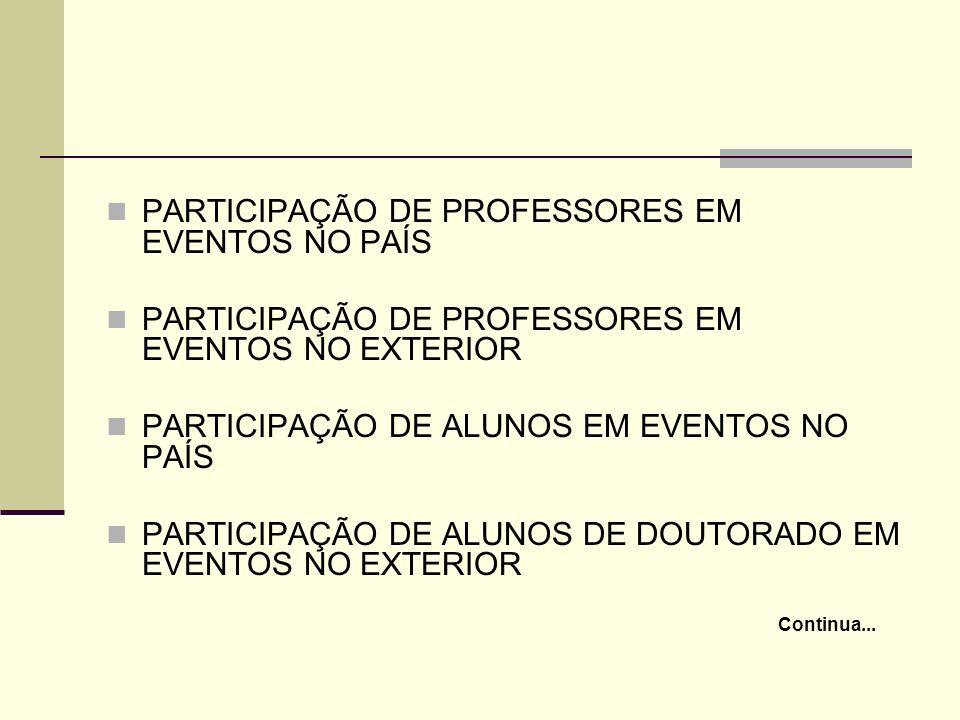 PARTICIPAÇÃO DE PROFESSORES EM EVENTOS NO PAÍS